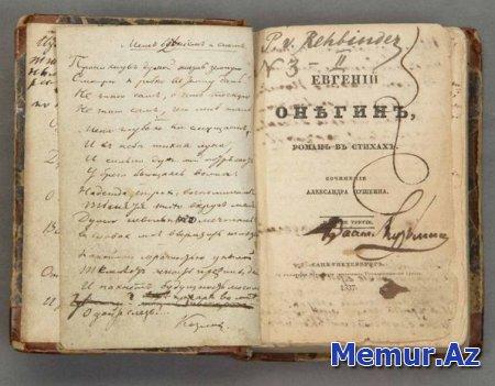 """Yevgeni Onegin""in ilk nəşri yarım milyon dollara satıldı"