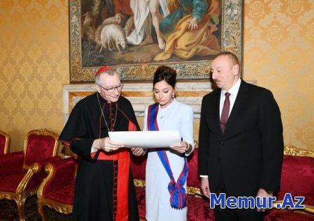 Mehriban Əliyeva Vatikanda Papa Cəngavər Ordeninin ən ali dərəcəsinə layiq görülüb