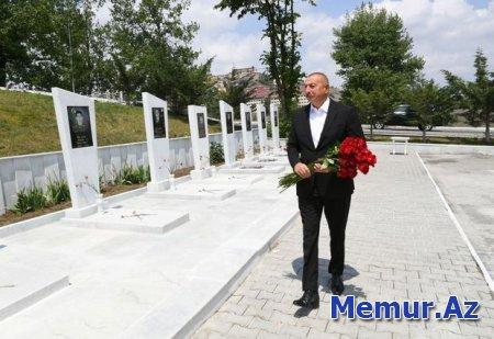 Prezident Daşkəsəndə Şəhidlər xiyabanını ziyarət edib